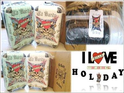EDHARDY- Love Kills Slowly 雙面圖 硬殼24吋行李箱 / 白,綠現貨 送虎頭保護套