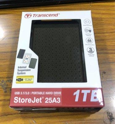 點子電腦☆北投@Transcend創見 25A3 2.5吋 USB 3.0 1TB 1T A3 防震 行動硬碟 黑白花紋 台北市