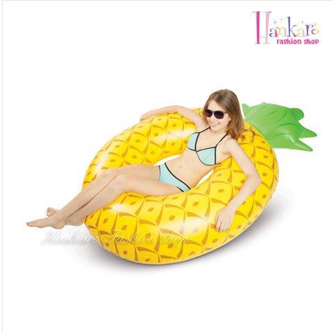 ☆[Hankaro]☆ 夏日戲水鳳梨造型成人尺寸充氣泳圈座圈~(合併批發另洽)