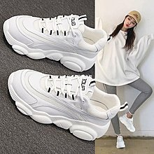 litterluck-韓國專櫃夏季小熊老爹鞋女網面透氣正韓百搭平底白色運動鞋輕便健身跑步鞋