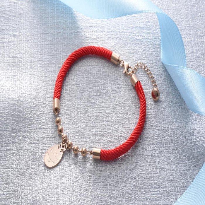 韓版本命年招財貓紅繩學生轉運繩K玫瑰金鈦鋼手環閨蜜禮物 新麗小舖