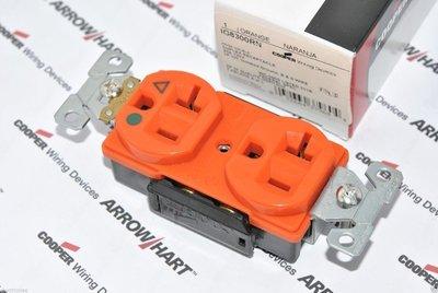 [ 特價中]美國COOPER IG8300RN 125V 20A 橘色 獨立接地 醫療級插座 送93101蓋板
