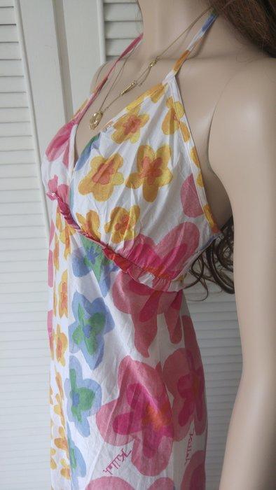 Killah 熱帶海洋純棉印花繫脖露背性感洋裝