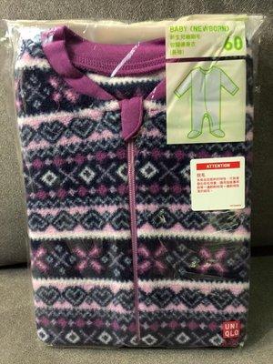 ☀APPLE SHOP☀ UNIQLO 嬰幼兒長袖細刷毛包腳連身衣 兔裝(紫色圖騰) 尺寸:60cm