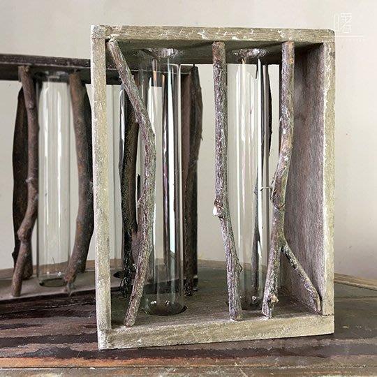 【曙muse】北歐風原木架玻璃插花瓶二入 試管 簡約擺設 居家小物 loft 工業風 咖啡廳 民宿 餐廳 住家