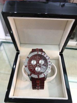 Dior CHRISTAL 巨星風采水晶三眼計時腕錶-紅色/38mm