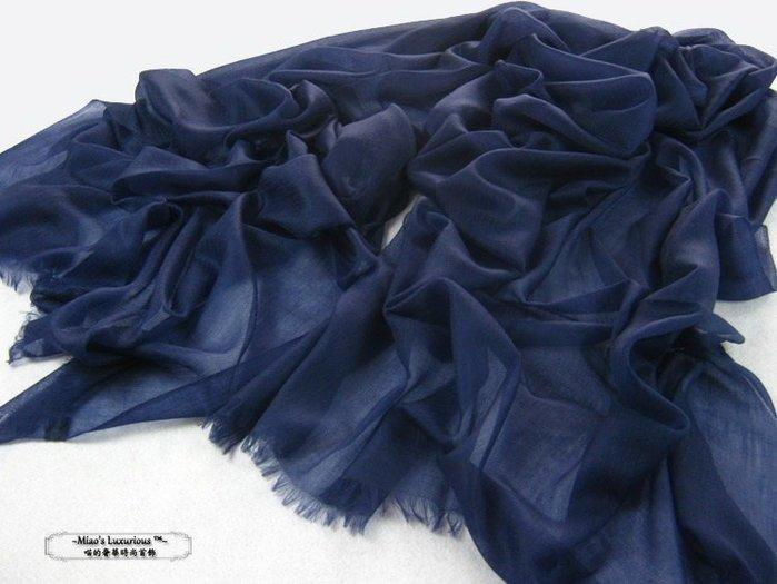 皇家大氣藏藍100% super fine cashmere頂級300支pashmina Shahmina喀什米爾圍巾披