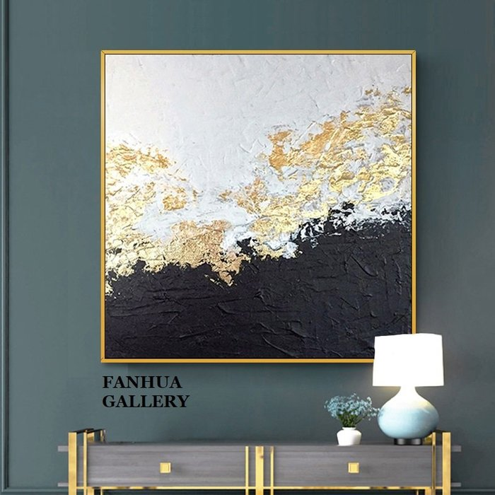 C - R - A - Z - Y - T - O - W - N 純手繪油畫立體筆觸金箔黑白抽象手繪油畫美式輕奢金色時尚玄關巨幅抽象油畫收藏畫方形藝術手繪油畫