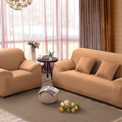 沙發套【RS Home】單人座加送抱枕套沙發罩沙發套彈性沙發套沙發墊沙發布床墊保潔墊沙發彈簧床折疊沙發 [駝色單人座]