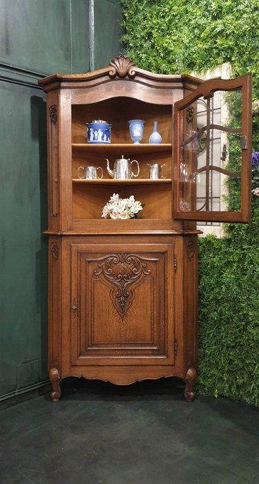 【卡卡頌  歐洲古董】法國老件~ 美麗雕刻  轉角櫃  展示櫃  法式櫃  角落櫃  骨董櫃ca0276