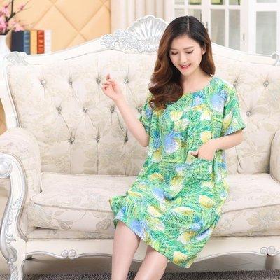 夏季大碼女裝睡裙中老年人棉綢連身裙媽媽裝 【愛購時尚館】