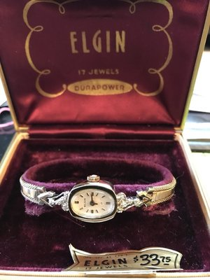 古董錶 vintage watch, elgin 1950s 真鑽 女裝上鍊 RGP Diamond
