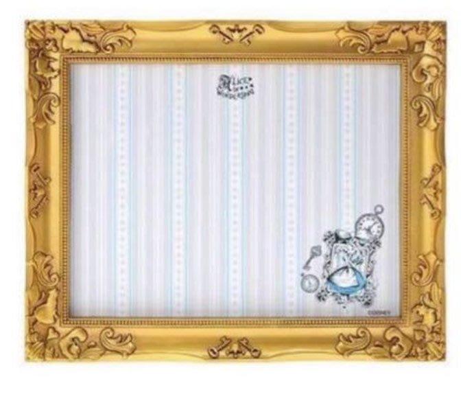 ArielWish日本東京迪士尼Alice愛麗絲精緻法式貴族金色浮雕立體相片相框架磁鐵留言版memo夾擺飾裝飾品-絕版品