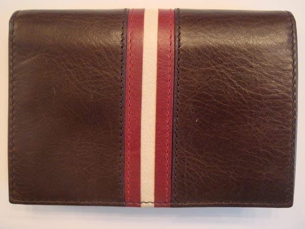降價大出清!全新瑞士名牌 Bally 經典全皮革名片夾/萬用夾,咖啡色,紅白條飾,低價起標無底價!本商品免運費!