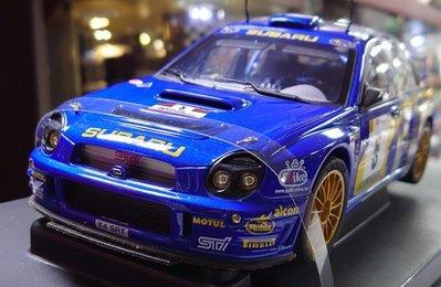 Autoart 1/18。SUBARU IMPREZA WRC 2001 #05。圓燈四門。原盒
