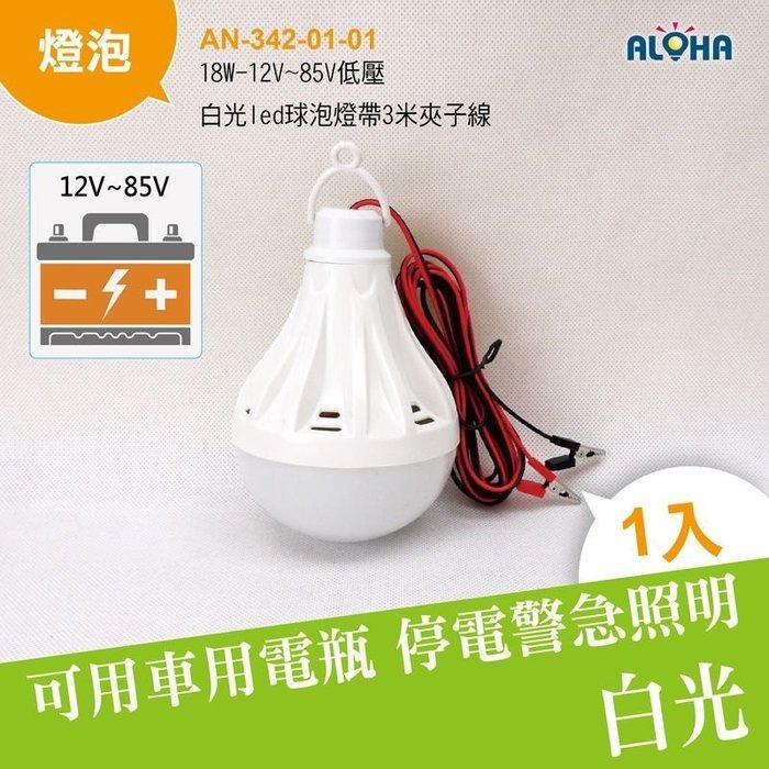 led燈 吊燈【AN-342-01-01】18W-12V~85V低壓白光led球泡燈帶3米夾子線 使用電瓶 攤車 攤位