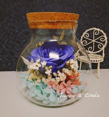 Joanne&Linda 藍玫瑰永生花乾燥花 白光夜燈 玻璃瓶擺飾 尺寸13×13公分