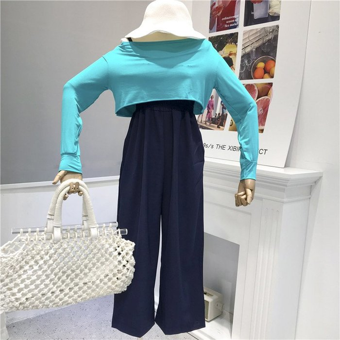 MiNE SHOP韓國 M9626-3實拍 闊腿褲兩件套女裝 兩色 均碼