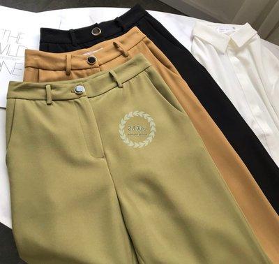 【2A Two】韓貨🍵清新系⌒高腰捲邊直筒褲⌒質感寶石單鈕釦『BA0744』