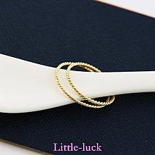 Little-luck~日韓流行 韓國純14k金黃金戒指 簡約麻花百搭k純金指環戒指女