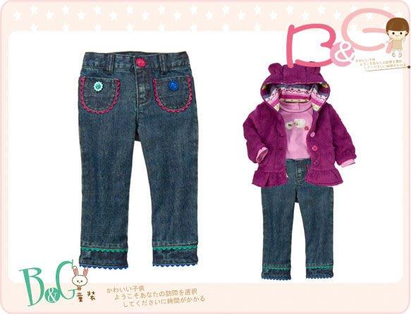 【B& G童裝】正品美國進口GYMBOREE Flower Buttont Ric Rac Jean 花朵釦子牛仔長褲12-18mos