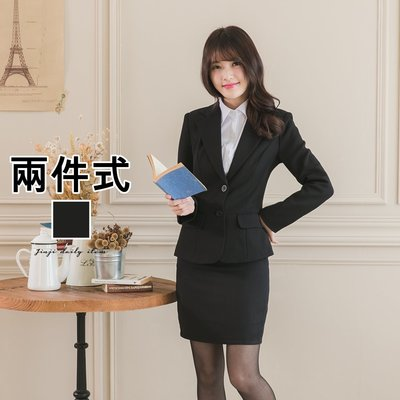 韓版OL上班/學生制服/面試/ 兩釦女長袖 黑色西裝套裝 《SEZOO襯衫殿 高雄店家》042308088