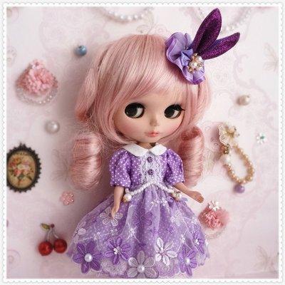 小布blythe娃衣bjd紫蕾絲洋裝