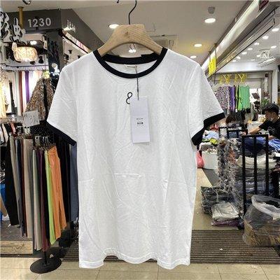 iven正韓專櫃MOCHA正品2020夏季新款圓領口印花字母短袖拼色撞色T恤女簡約7784