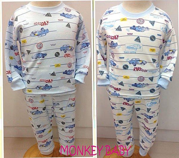 滿699 ~MONKEY BABY ~ 質料汽車圖案男童厚棉保暖居家服套裝白底80~85公