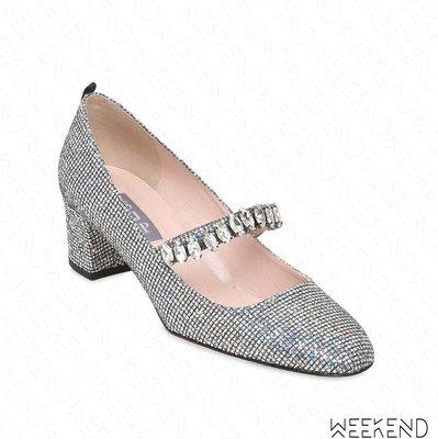 【WEEKEND】 Sarah Jessica Parker SJP Dazzle 亮面 鑲鑽 高跟鞋 銀色