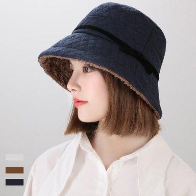 日本秋冬新款 壓紋格子保暖帽 盆帽 日...