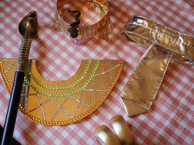 (巧手媽)手作 手工 客製 兒童 埃及艷后 變裝 5件組 表演 萬聖 聖誕節 Cosplay 權杖 皇冠 化妝舞會 眼鏡蛇