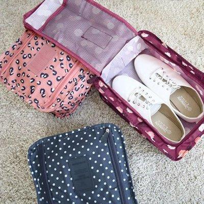 韓版 印花手提鞋子收納袋 便攜式 旅行包 盥洗包 收納包 手提式 防水 旅行 出國【SA Girl】