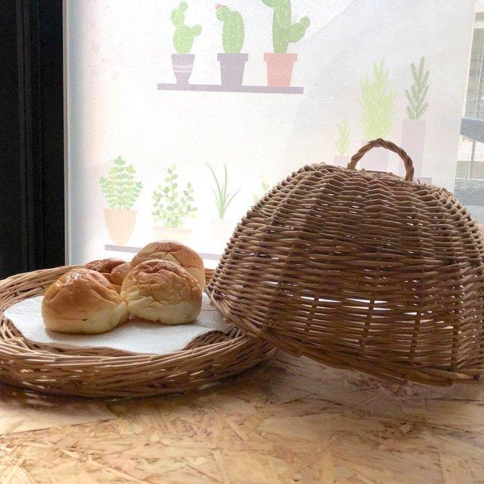 柳編食物麵包盤/罩(兩用)
