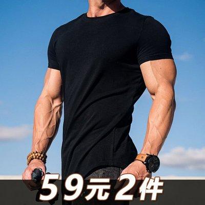 夏季純色運動T恤男肌肉兄弟圓領健身服上衣跑步籃球訓練彈力短袖t健身運動裝