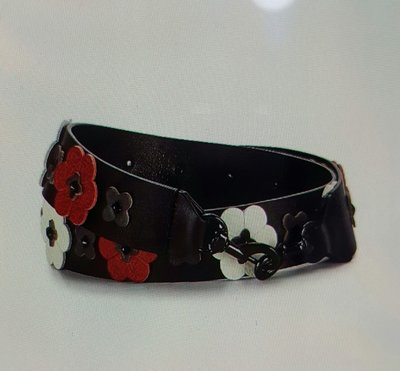 REBECCAMINKOFF真皮黑色花卉貼花背包背帶,斜背帶。