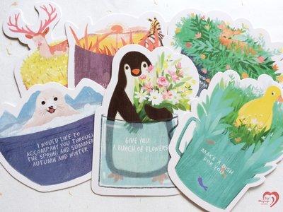 ♥ STORY SAYS ♥【杯中世界】Infeel me原創創意設計手繪一杯子一輩子明信片(一組5張) 卡片 禮物卡