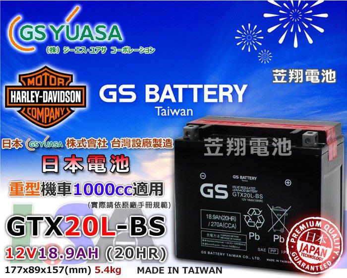 ☼ 台中苙翔電池 ►日本 GS YUASA 重型機車電池 GTX20L-BS / YTX20L-BS 外銷製品 MIT
