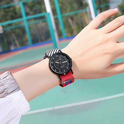 手錶運動帆布字母男女學生韓版手表女文藝森系簡約潮流ins風情侶表腕錶