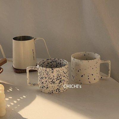 馬克杯CHICHI's 韓國ins博主同款芝麻點潑墨簡約陶瓷咖啡杯小眾馬克杯