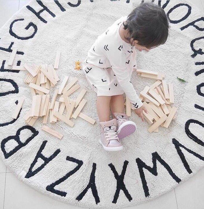 【愛媽媽孕婦裝】Baby'Room系列INS風北歐26個字母圓形地墊兒童遊戲墊