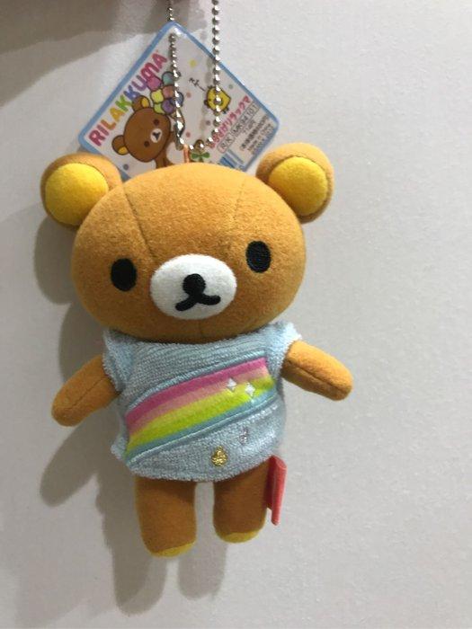 *凱西小舖*日本進口正版SAN-X_Rilakkuma懶懶熊彩虹🌈系列珠鍊吊飾玩偶