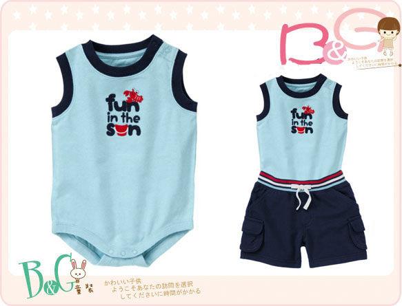 【B& G童裝】正品美國進口GYMBOREE龍蝦圖樣藍色背心式連身衣6-12-18-24mos