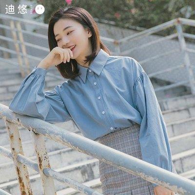 迪悠2018韓版新款秋季泡泡袖學生襯衣女長袖寬鬆休閒BF港味襯衫潮