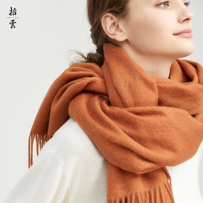 heavy°鋪 純羊毛圍巾女秋冬季黑色加厚GW125