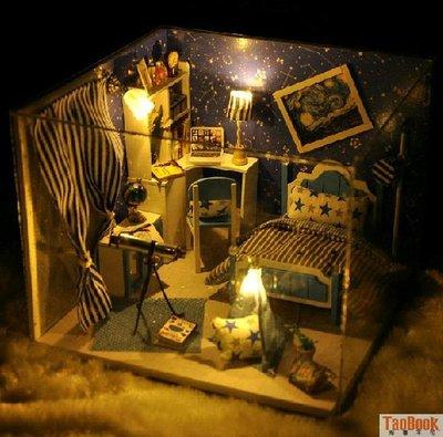 DIY小屋夢星空 手工拼裝建築小房子模型 女生玩具創意生日禮物