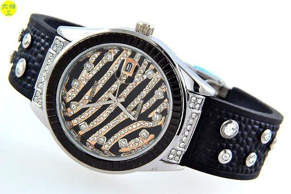 (六四三精品)豹紋錶面.金面.銀錶殼.黑外框.水晶鑽.矽膠帶.摺疊扣精準錶!