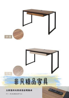 非凡二手家具 全新品 北歐風時尚質感插座電腦桌*寫字桌*辦公桌*主管桌*會計桌*工作桌*電腦桌*事務桌*OA桌*木桌