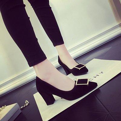 粗跟鞋 新款韓版淺口尖頭方扣絨面高跟鞋黑色中跟百搭單鞋女 -全館