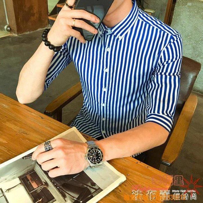 條紋襯衫男士短袖中袖男修身青少年發型師五分袖休閒襯衣學生潮白 全館免運